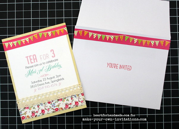 Tea party invitations and stamped matching envelope