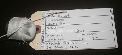 Cool Halloween Toe Tag Invitations Made At Home