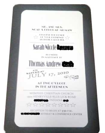 Film Wedding Invitation examples Printing on cardstock