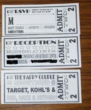 ticket rsvp cards