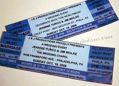 Janie's concert ticket wedding invitations made in MS Xcel and printed