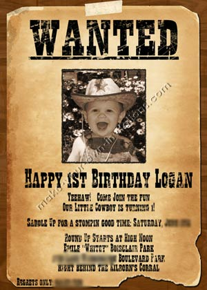 1st birthday invitation wanted poster