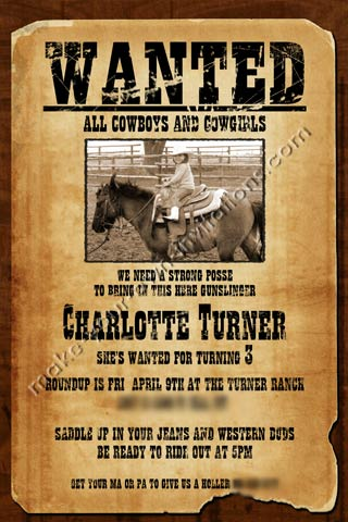 photograph relating to Printable Wanted Poster called Western Invites and Samples for a Preferred Poster invite