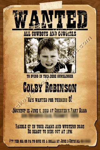 western invitations and samples for a wanted poster invite, Wedding invitations