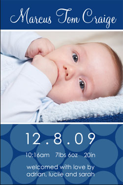Baby blue birth announcements
