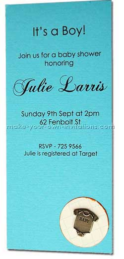 blue baby shower invitation - for a boy