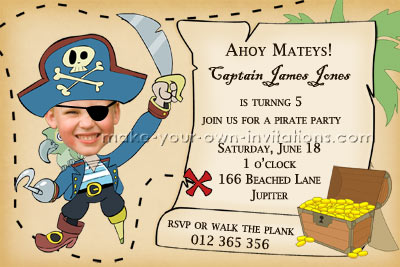 custom pirate birthday party invitation