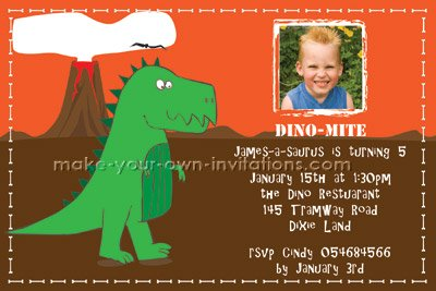 Dinosaur Birthday Invitation Custom Printable Photo Invitations