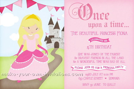 Pink princess party invitation without the personal photograph.