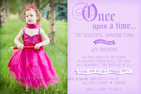 princess party invitation design for a girls birthday party.