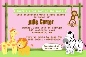 striped jungle baby shower invitation design