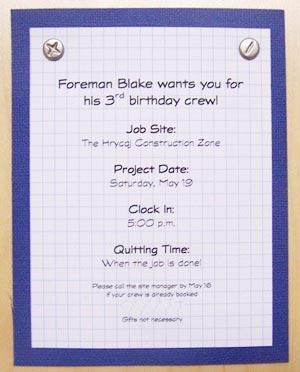 Construction Invitations