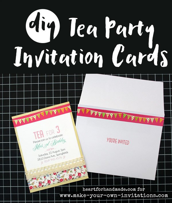 DIY tea party invitation cards
