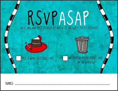 dr suess wedding rsvp card.