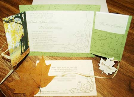 fall wedding invitations opened