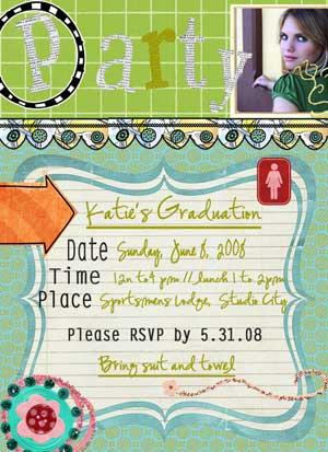 funky graduation  invite