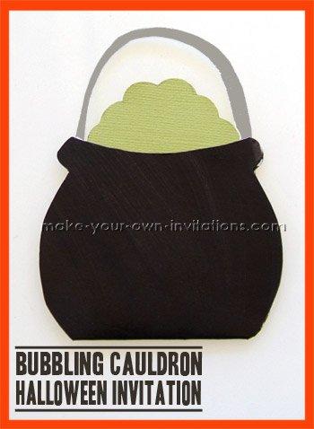 Cauldron halloween party invitations