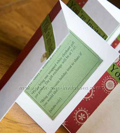 christmas holiday invitation with a peek at the insert