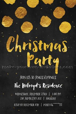 Gold and black Christmas party invitation.