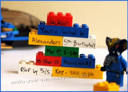 homemade lego invitations