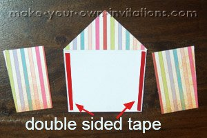 diy circus invitations taping the sides on