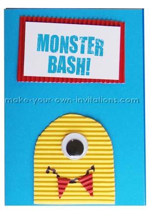 monster halloween invitation card