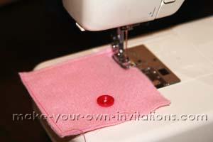 sew around the edges of the invitation pocket