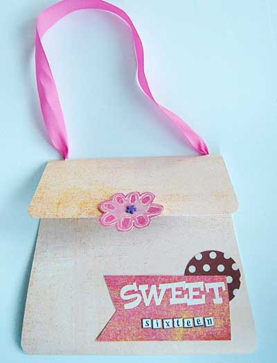 picture of a handbag sweet 16 invitation