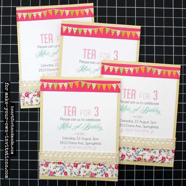 Tea party invitations with washi tape