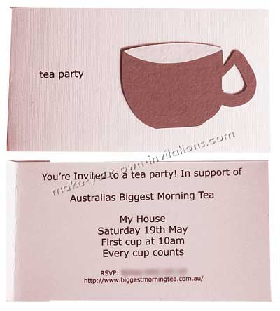 Homemade tea party invitations coffee and cake invites for Morning tea invitation template free