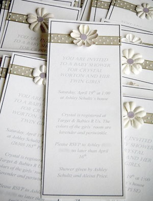 baby shower invitation for twins - simple and elegant.