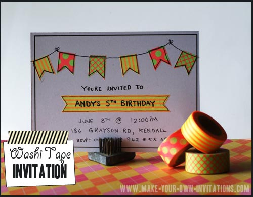 DIY Washi tape invitations