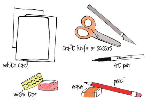 washi tape card supplies